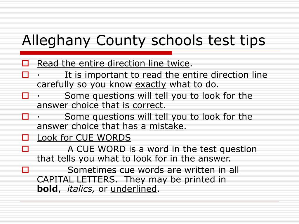 Alleghany County schools test tips