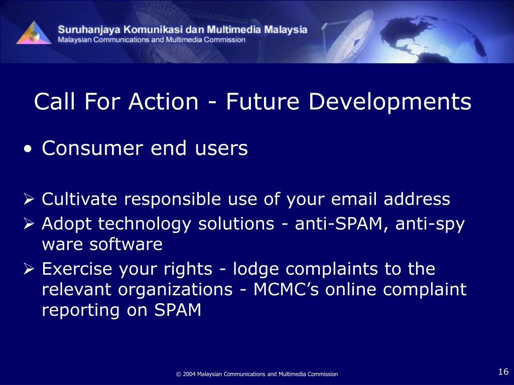 Call For Action - Future Developments