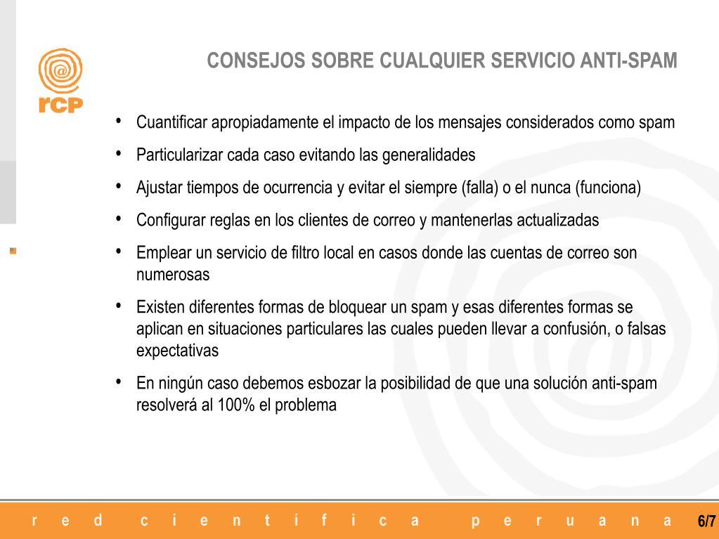CONSEJOS SOBRE CUALQUIER SERVICIO ANTI-SPAM