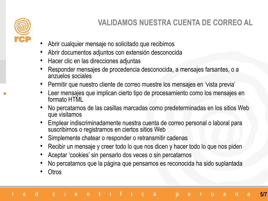VALIDAMOS NUESTRA CUENTA DE CORREO AL