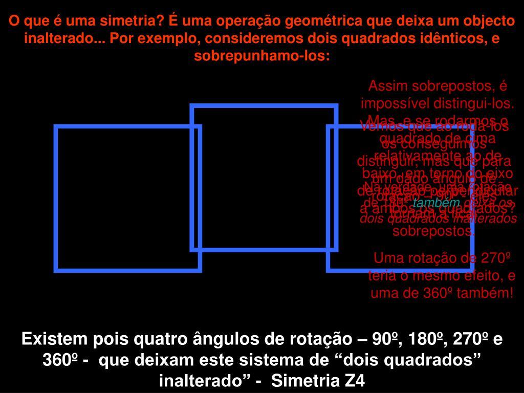 O que é uma simetria? É uma operação geométrica que deixa um objecto inalterado... Por exemplo, consideremos dois quadrados idênticos, e sobrepunhamo-los: