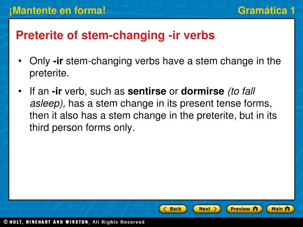 Preterite of stem-changing -ir verbs