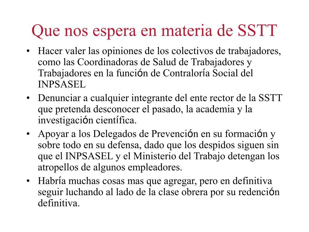 Que nos espera en materia de SSTT