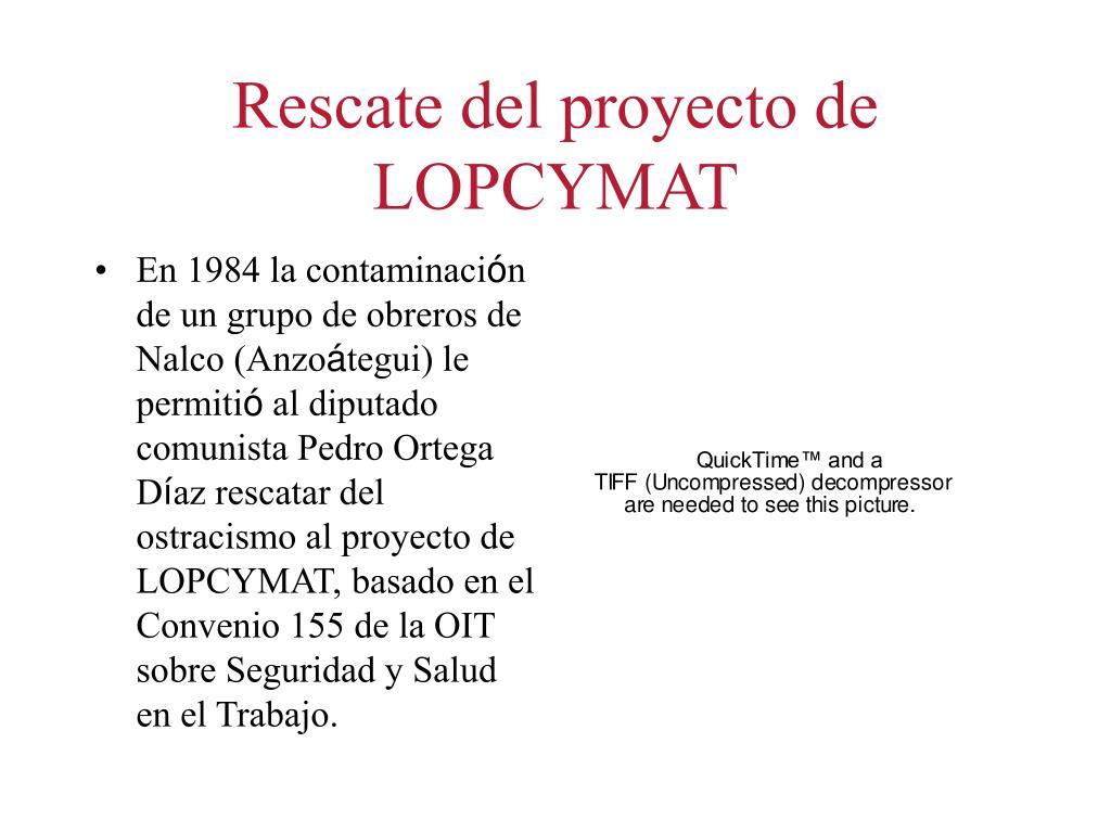 Rescate del proyecto de LOPCYMAT