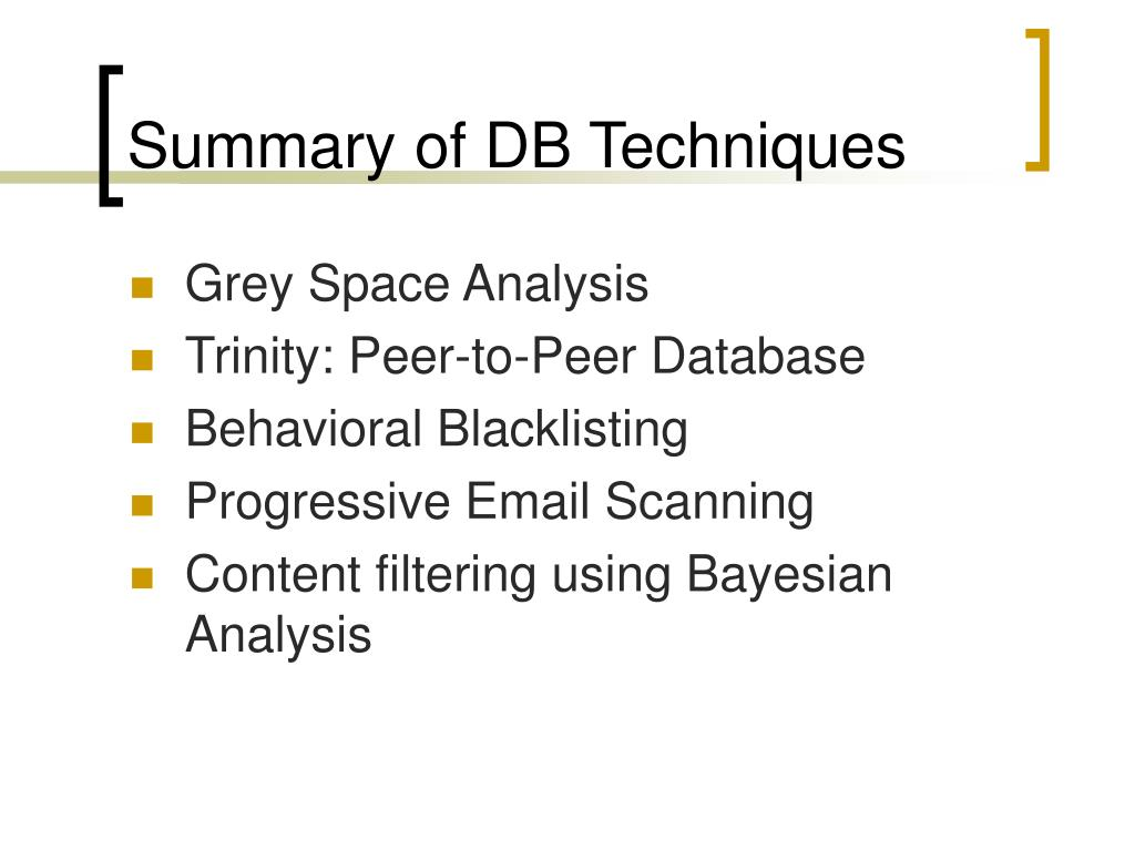 Summary of DB Techniques