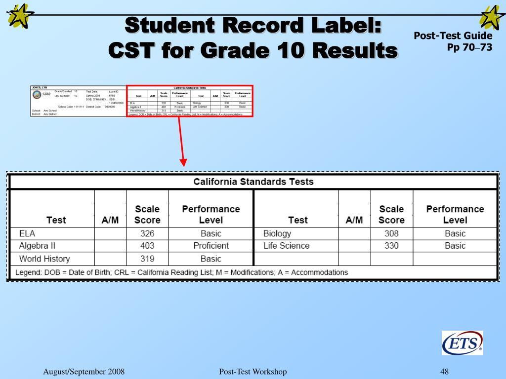 Student Record Label: