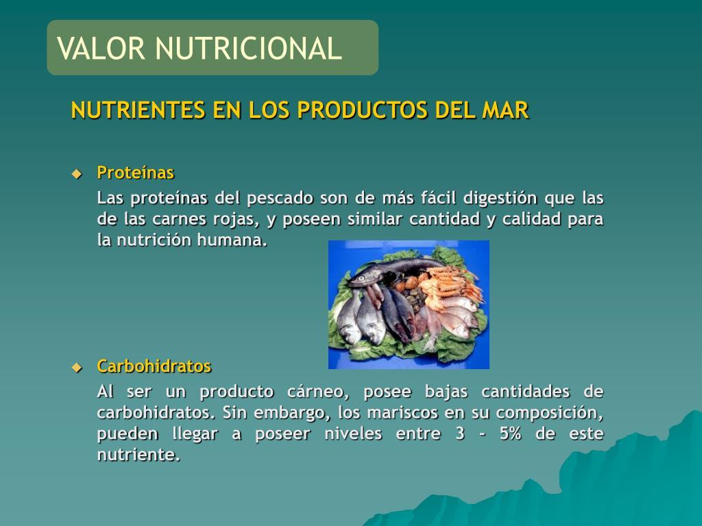 NUTRIENTES EN LOS PRODUCTOS DEL MAR