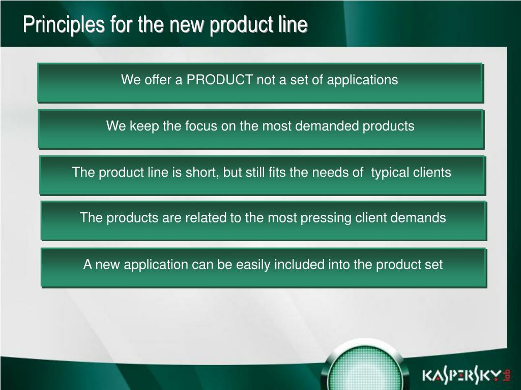 Principles for the new product line