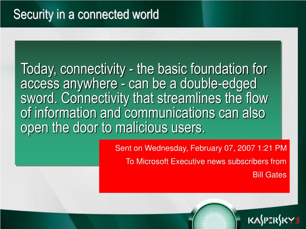 Security in a connected world