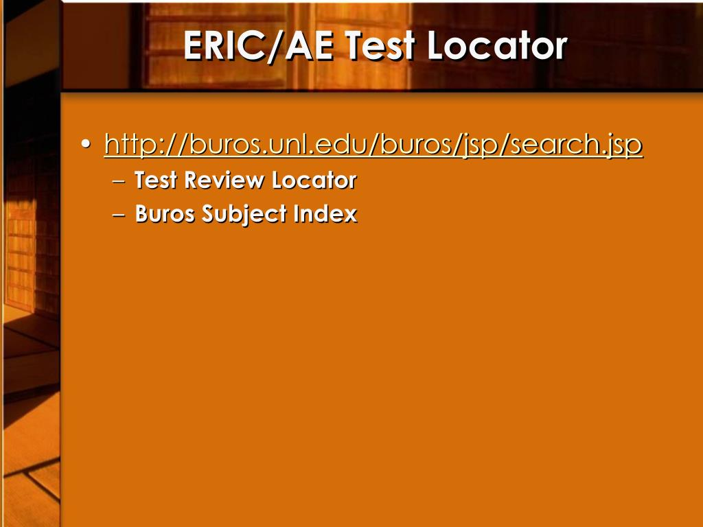 ERIC/AE Test Locator