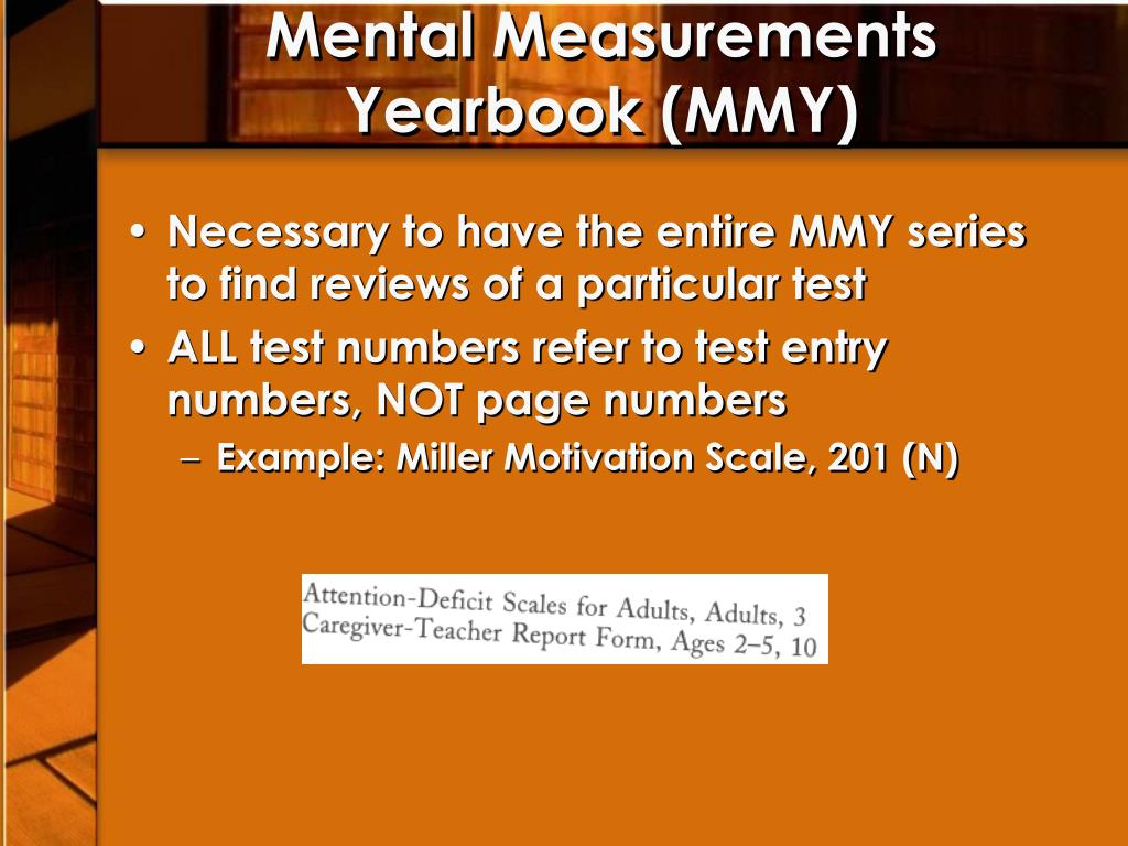 Mental Measurements Yearbook (MMY)