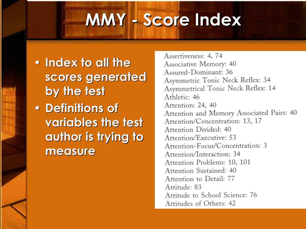 MMY - Score Index