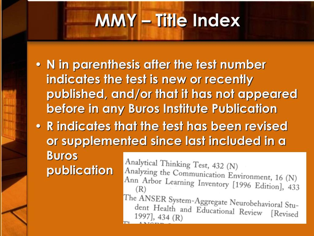 MMY – Title Index