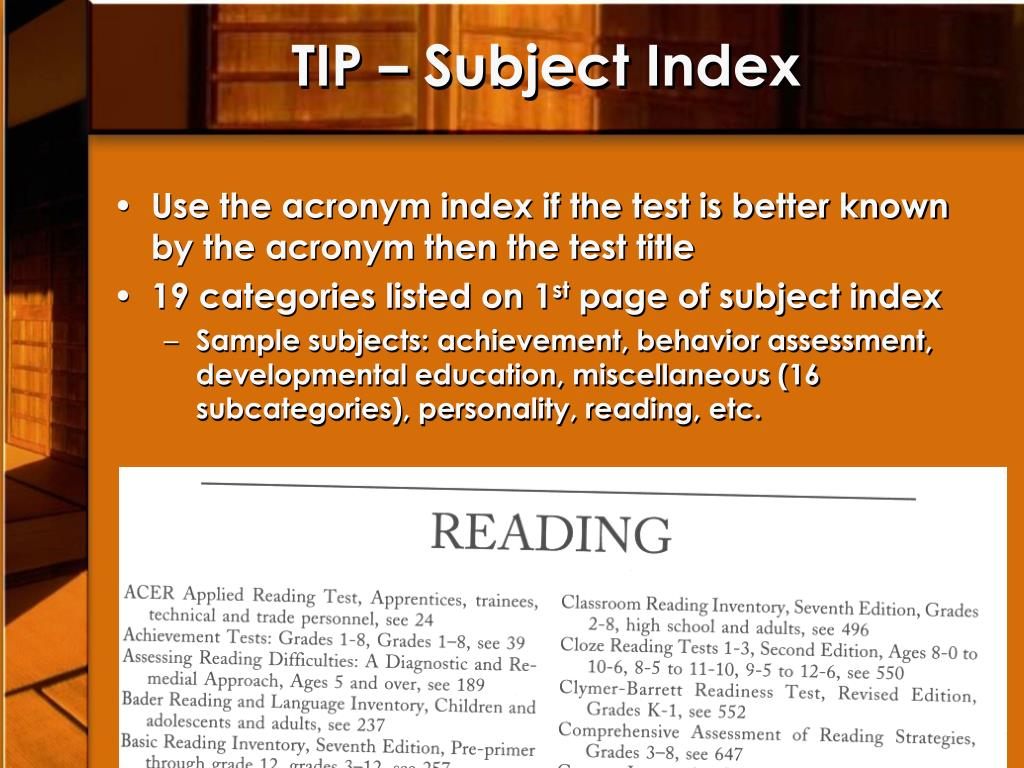 TIP – Subject Index