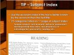 tip subject index