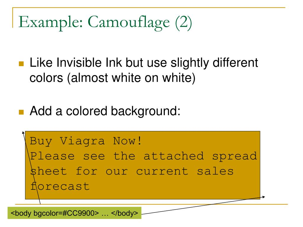 Example: Camouflage (2)