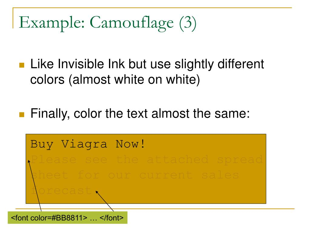 Example: Camouflage (3)