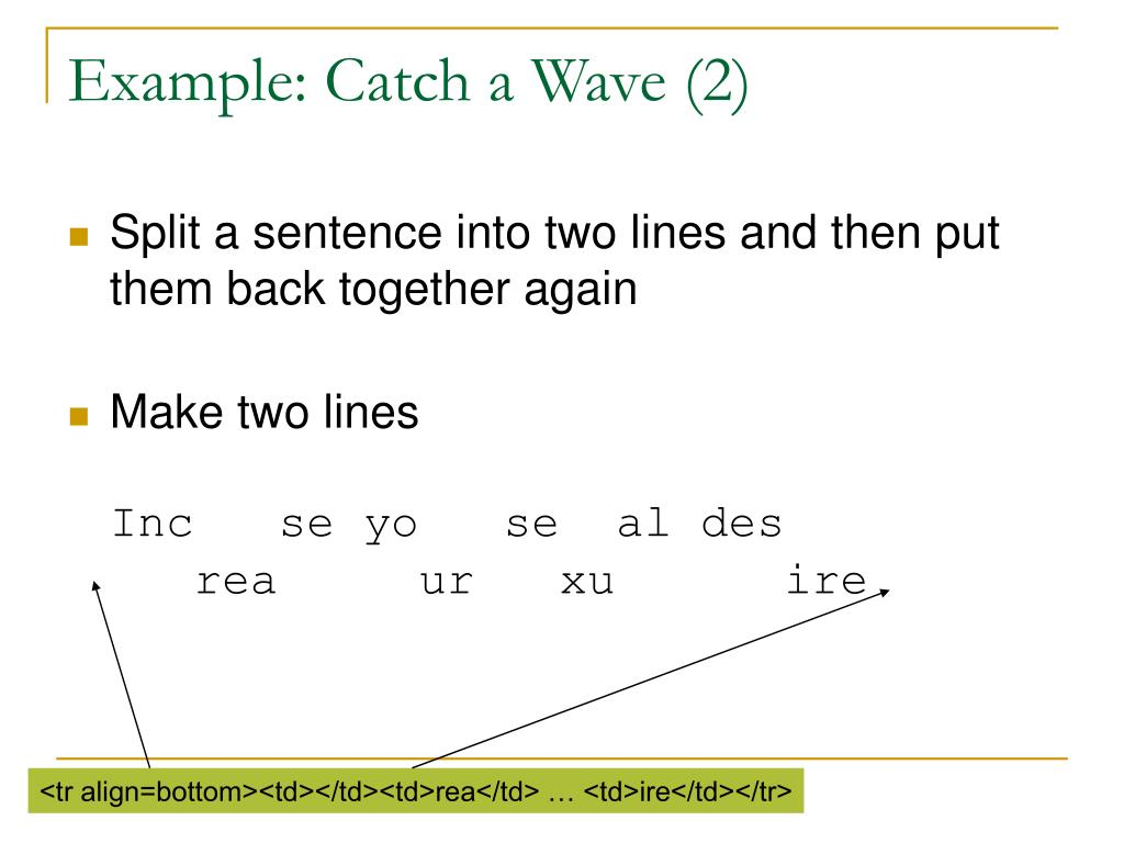 Example: Catch a Wave (2)