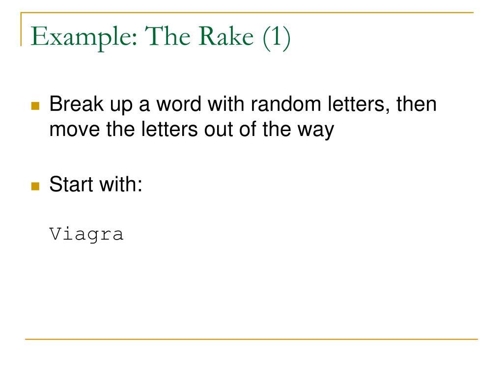 Example: The Rake (1)