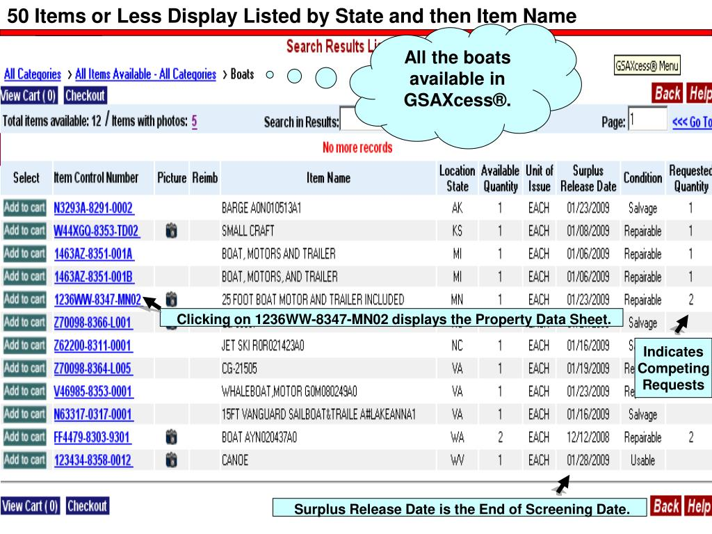 50 Items or Less Display Listed by State and then Item Name