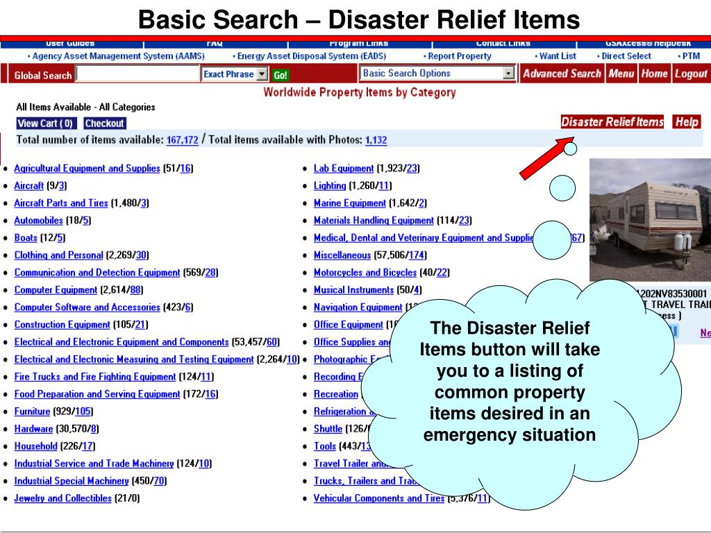 Basic Search – Disaster Relief Items