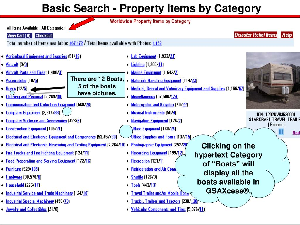 Basic Search - Property Items by Category