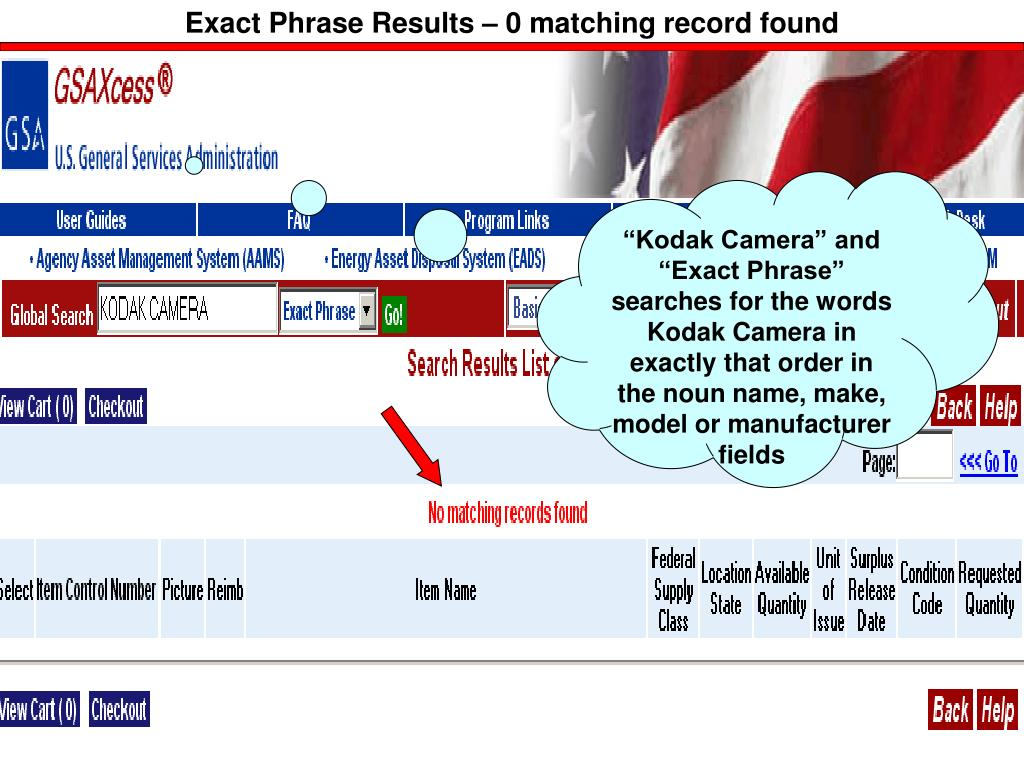 Exact Phrase Results – 0 matching record found