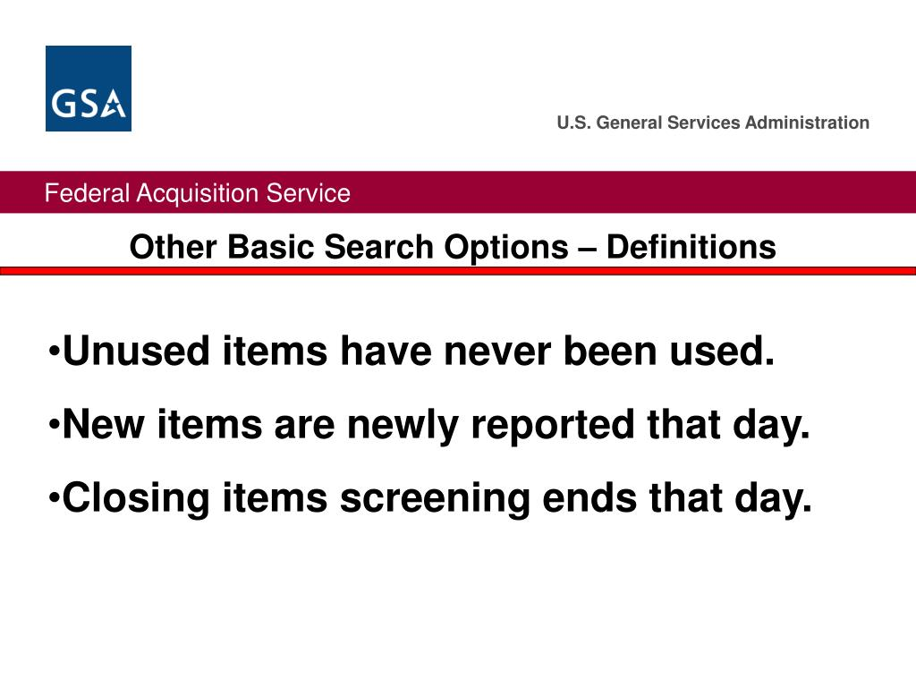Other Basic Search Options – Definitions