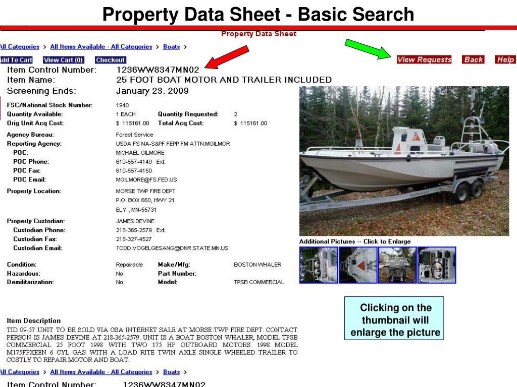 Property Data Sheet - Basic Search