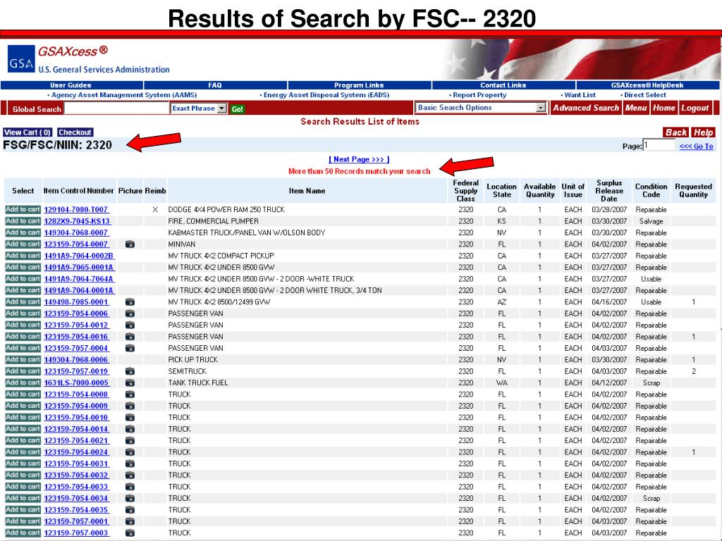 Results of Search by FSC-- 2320