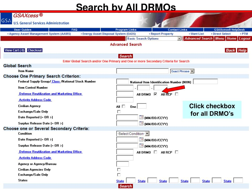 Search by All DRMOs