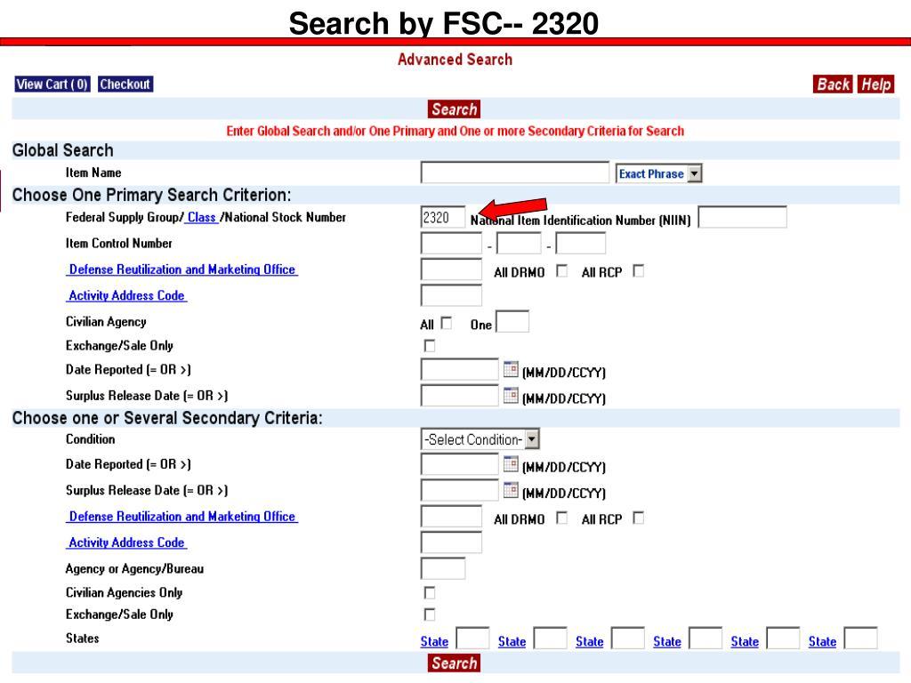 Search by FSC-- 2320