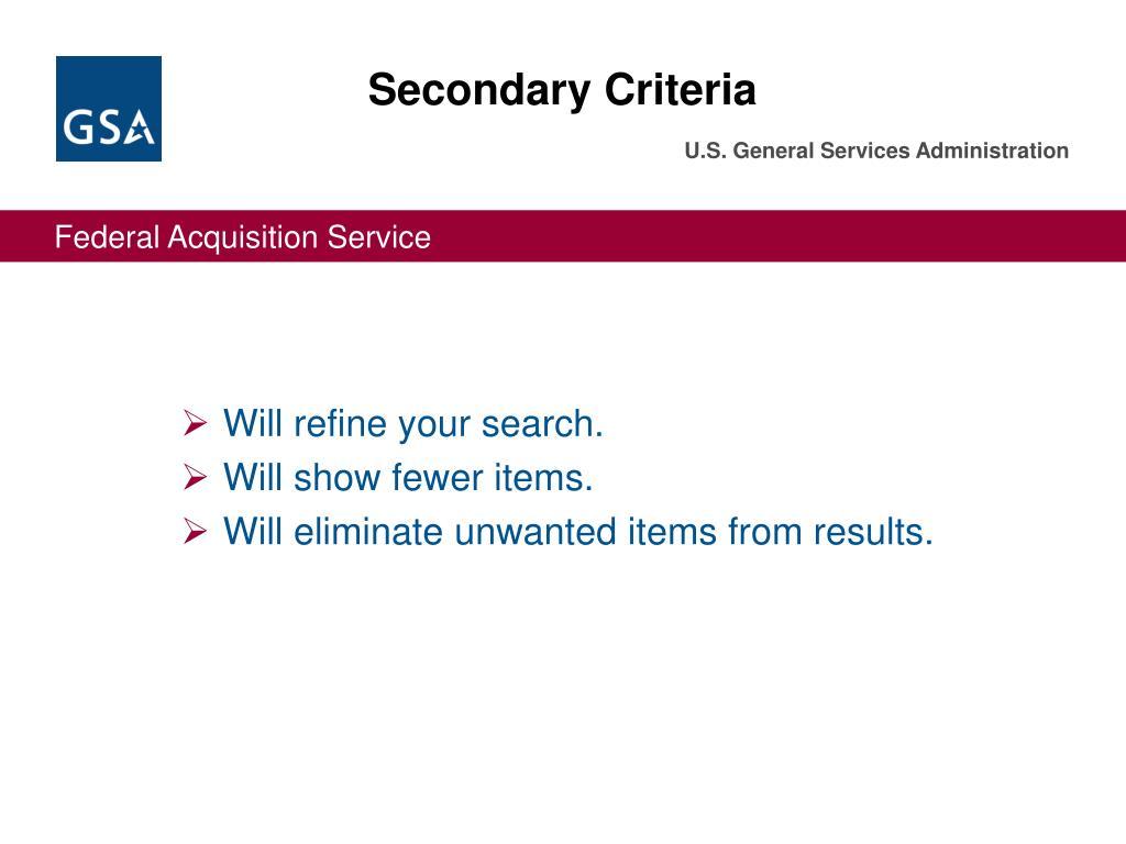 Secondary Criteria