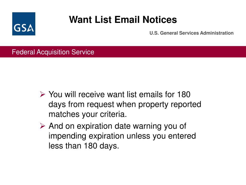 Want List Email Notices