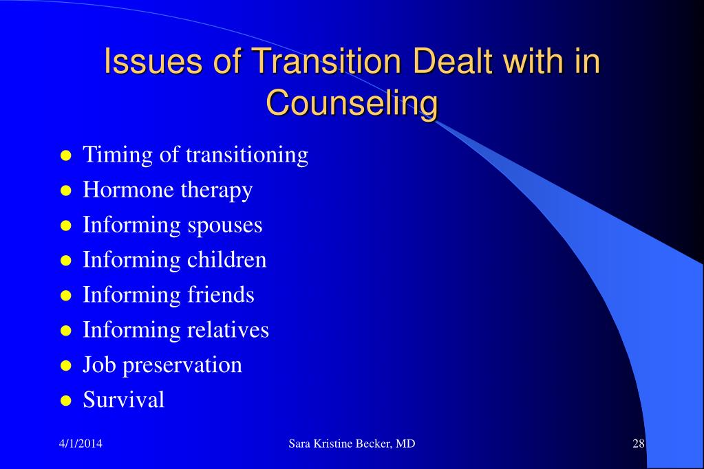 Issues of Transition Dealt with in Counseling