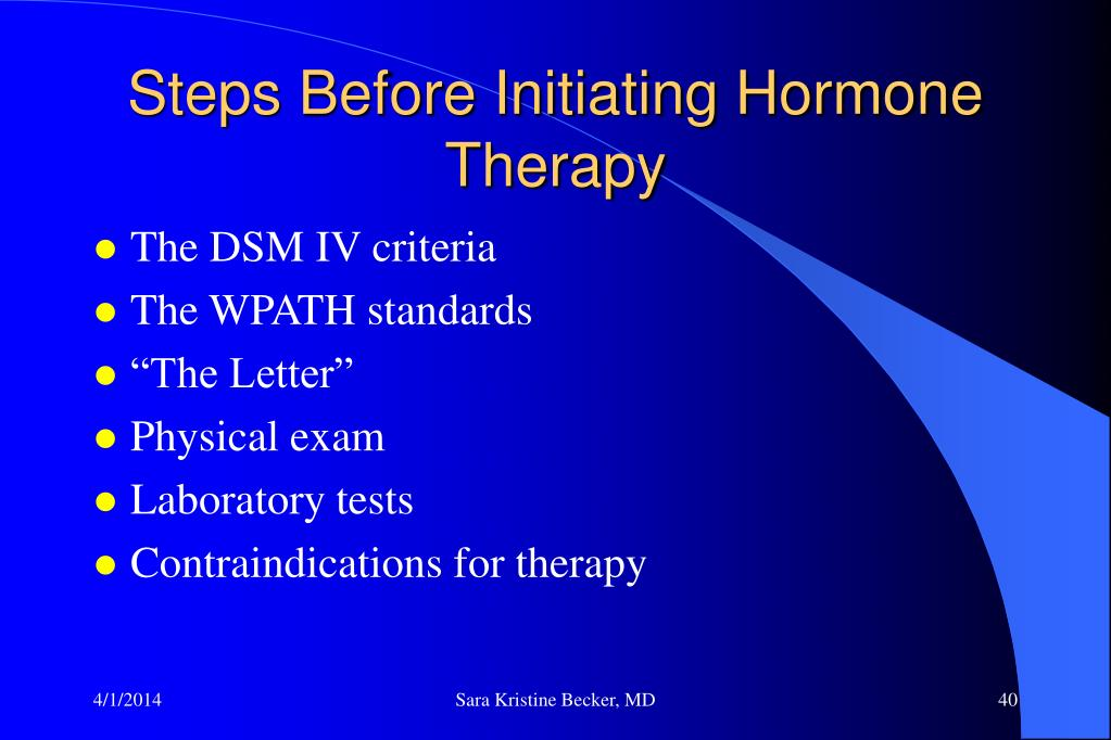 Steps Before Initiating Hormone Therapy