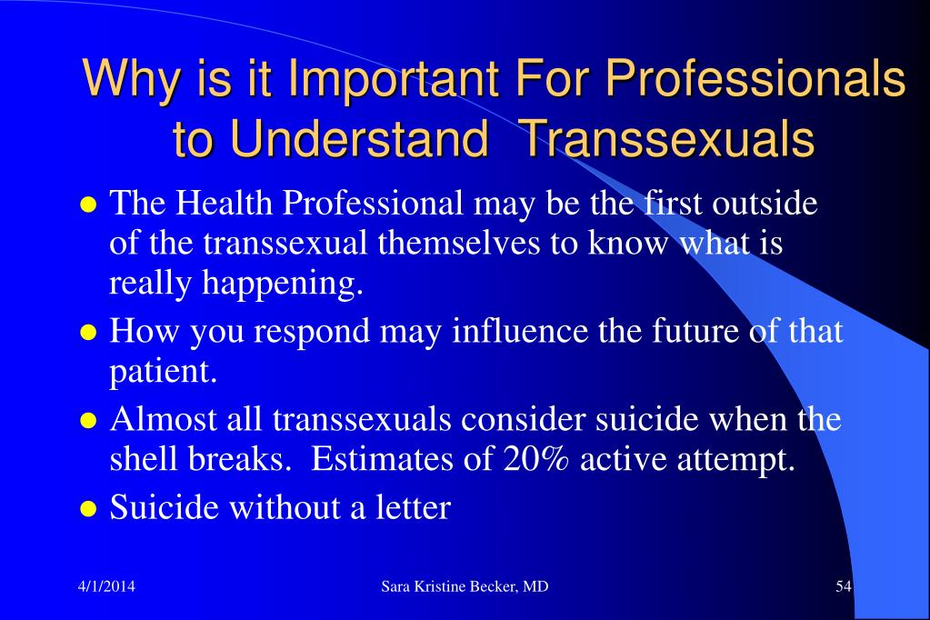 Why is it Important For Professionals to Understand  Transsexuals