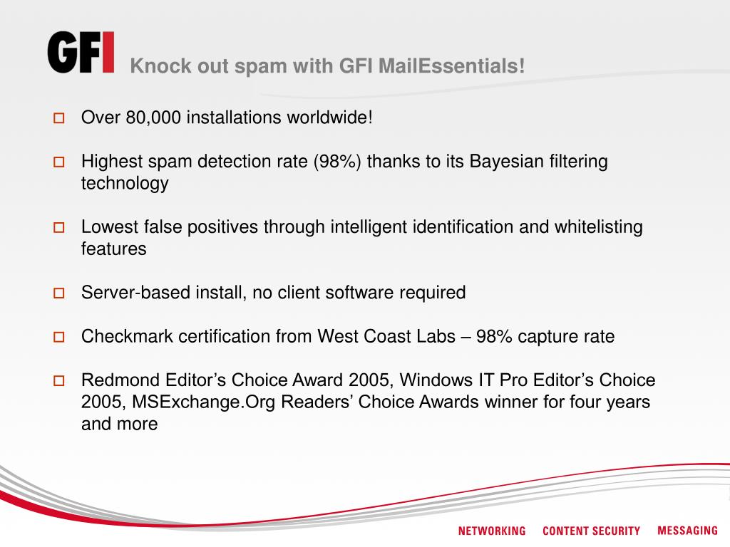 Knock out spam with GFI MailEssentials!