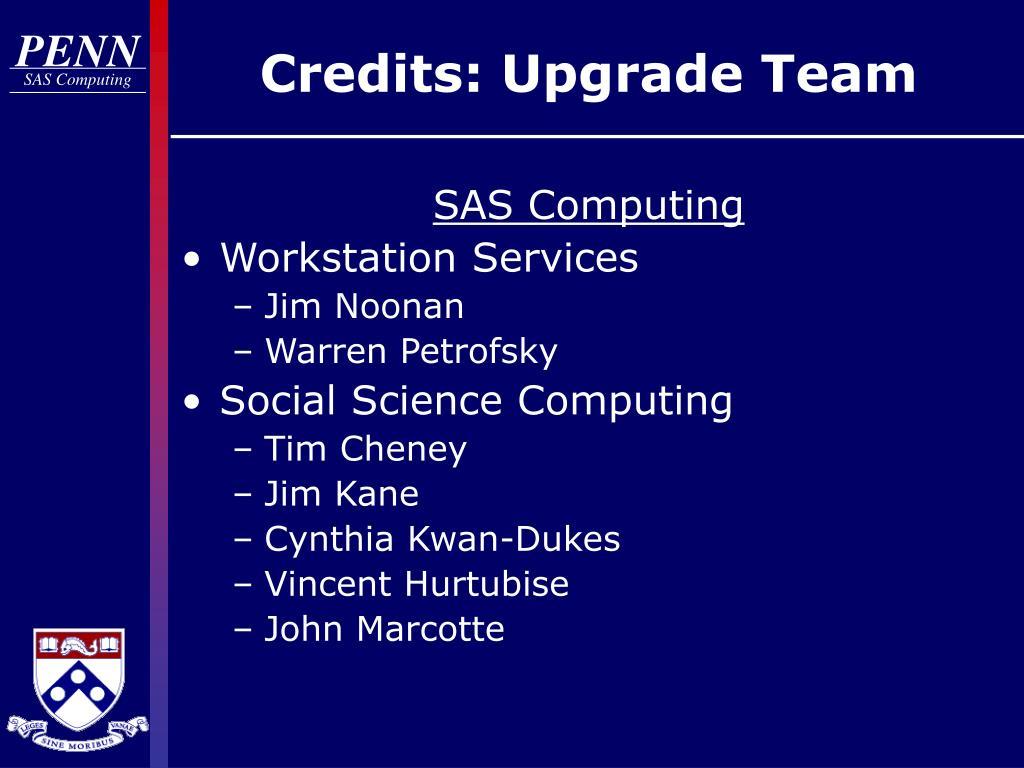 Credits: Upgrade Team