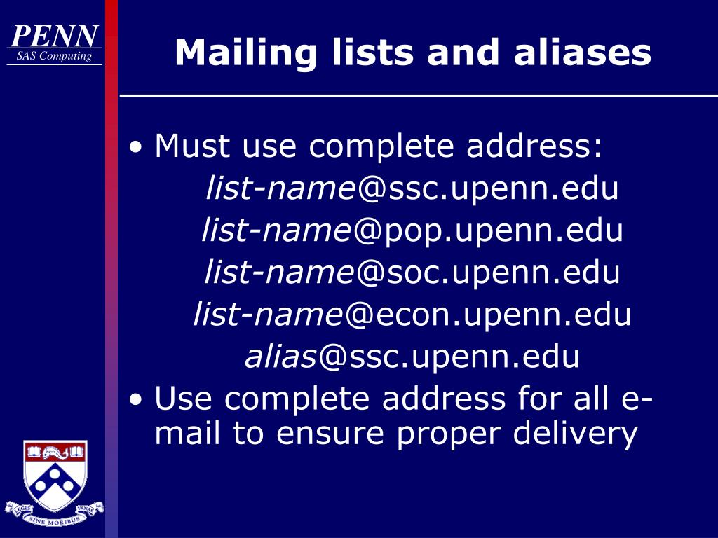 Mailing lists and aliases
