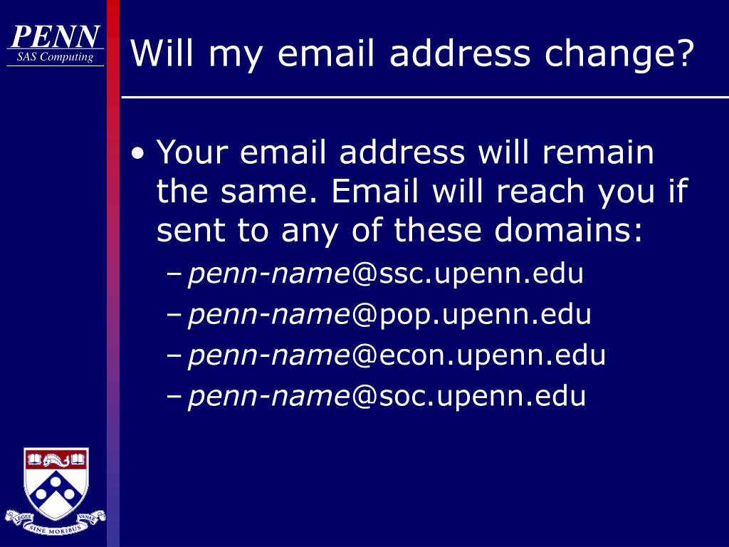 Will my email address change?