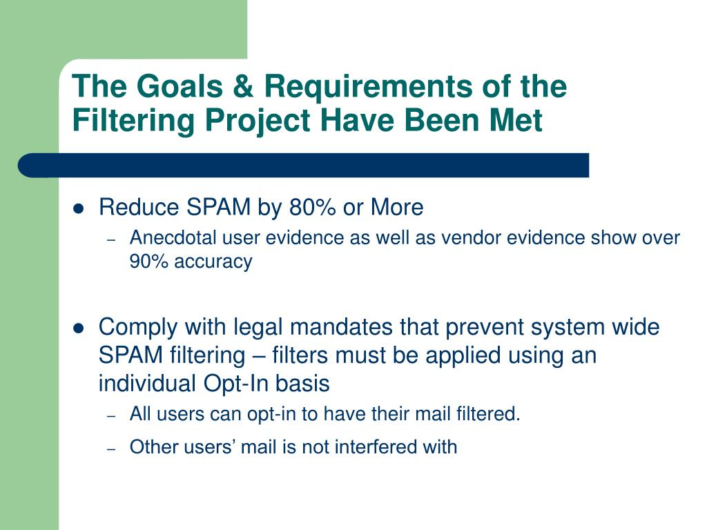The Goals & Requirements of the Filtering Project Have Been Met