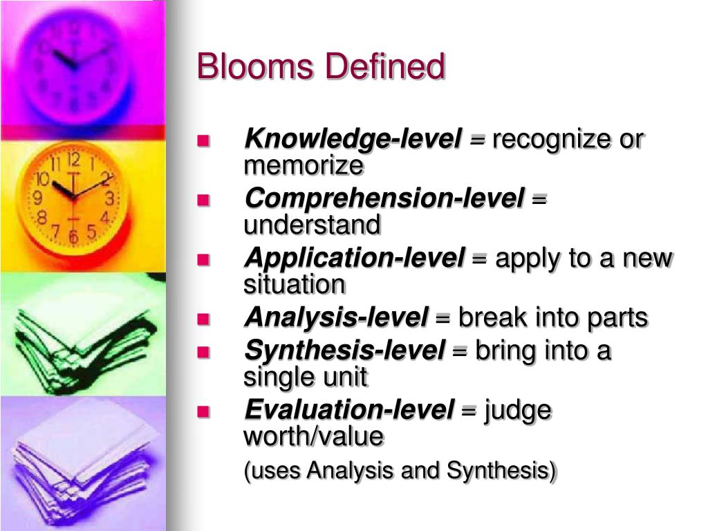 Blooms Defined