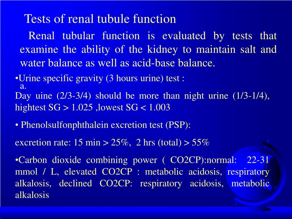 Tests of renal tubule function