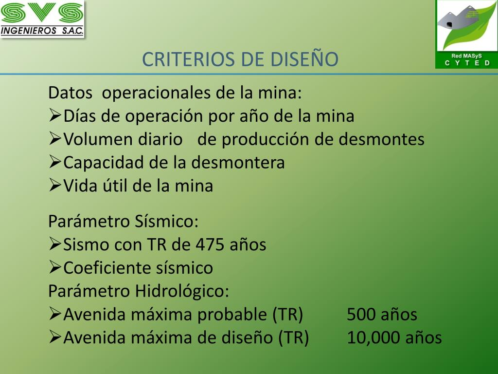 Datos  operacionales de la mina:
