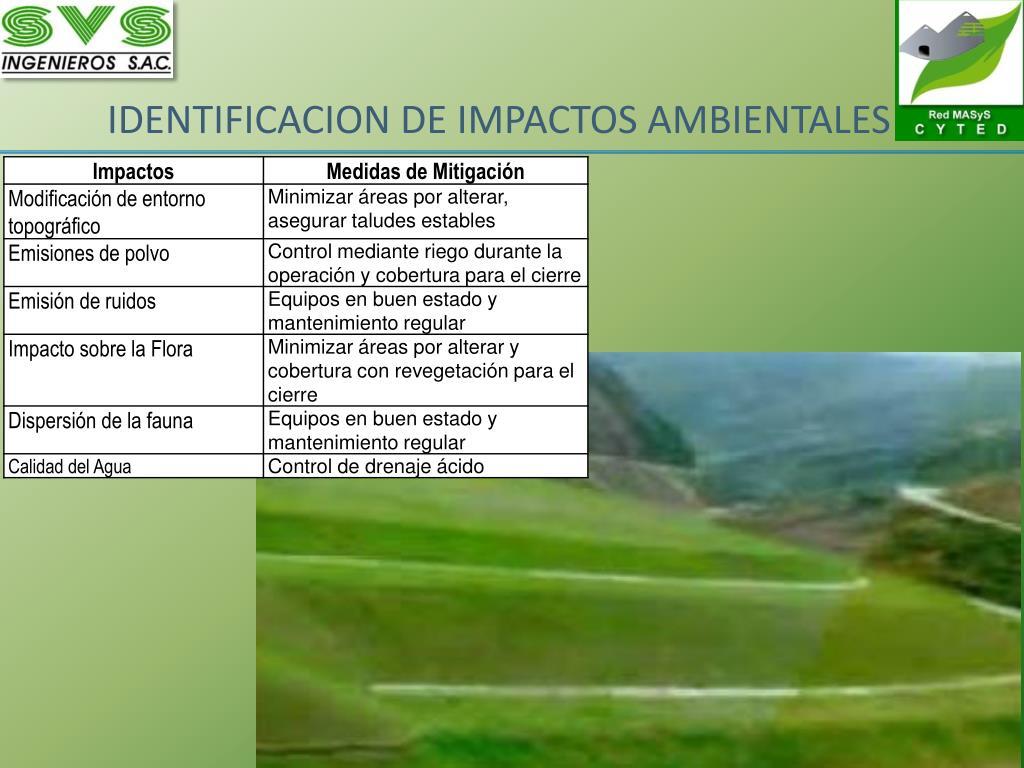 IDENTIFICACION DE IMPACTOS AMBIENTALES