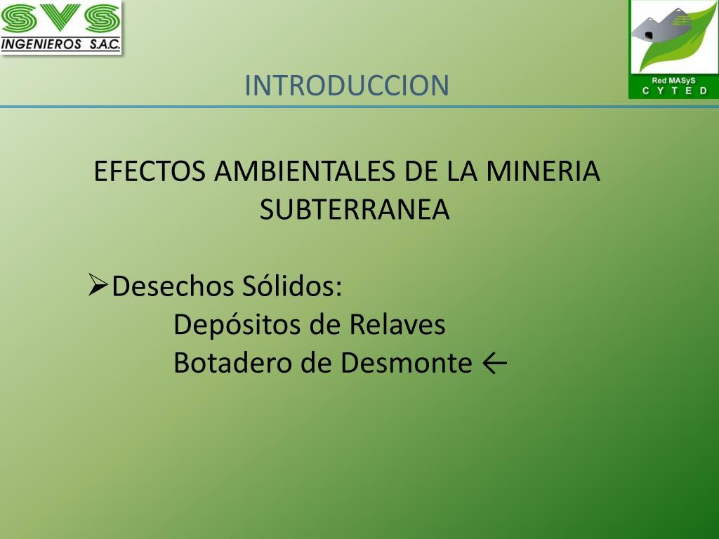 EFECTOS AMBIENTALES DE LA MINERIA