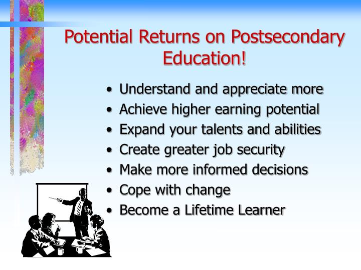 Potential returns on postsecondary education
