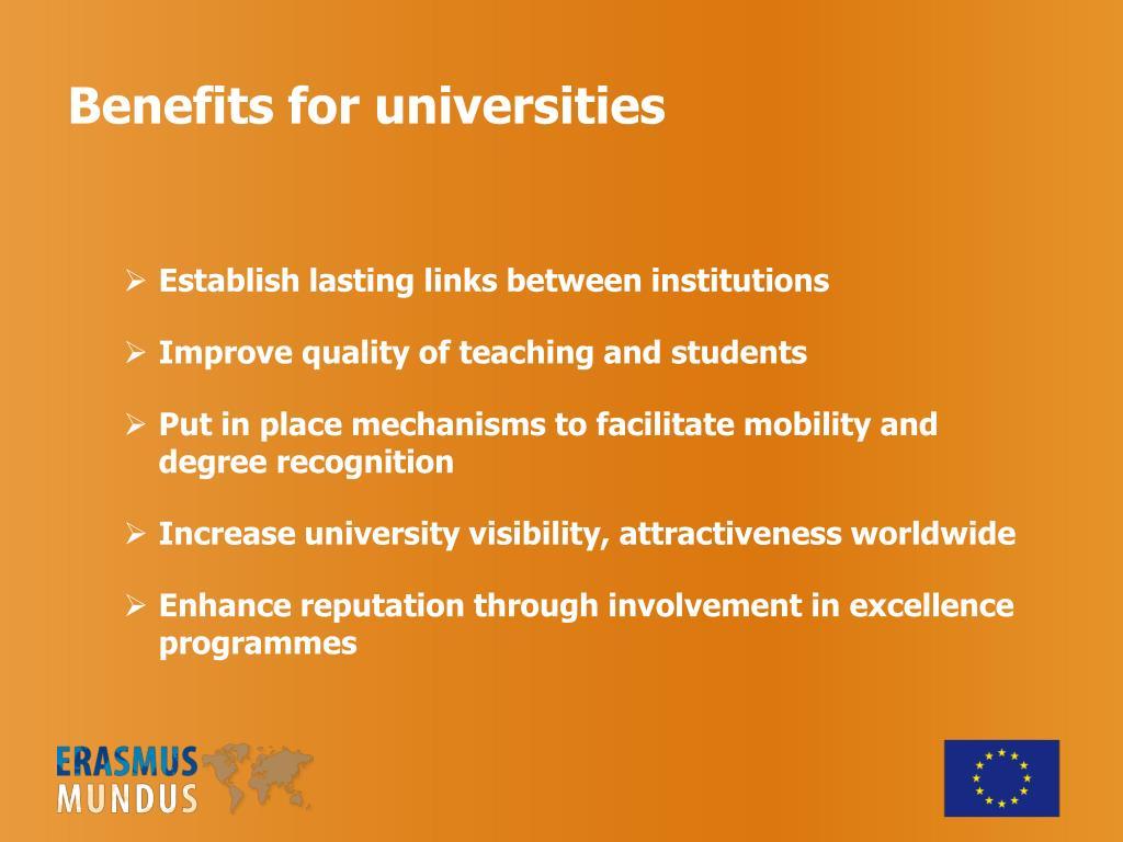 Benefits for universities
