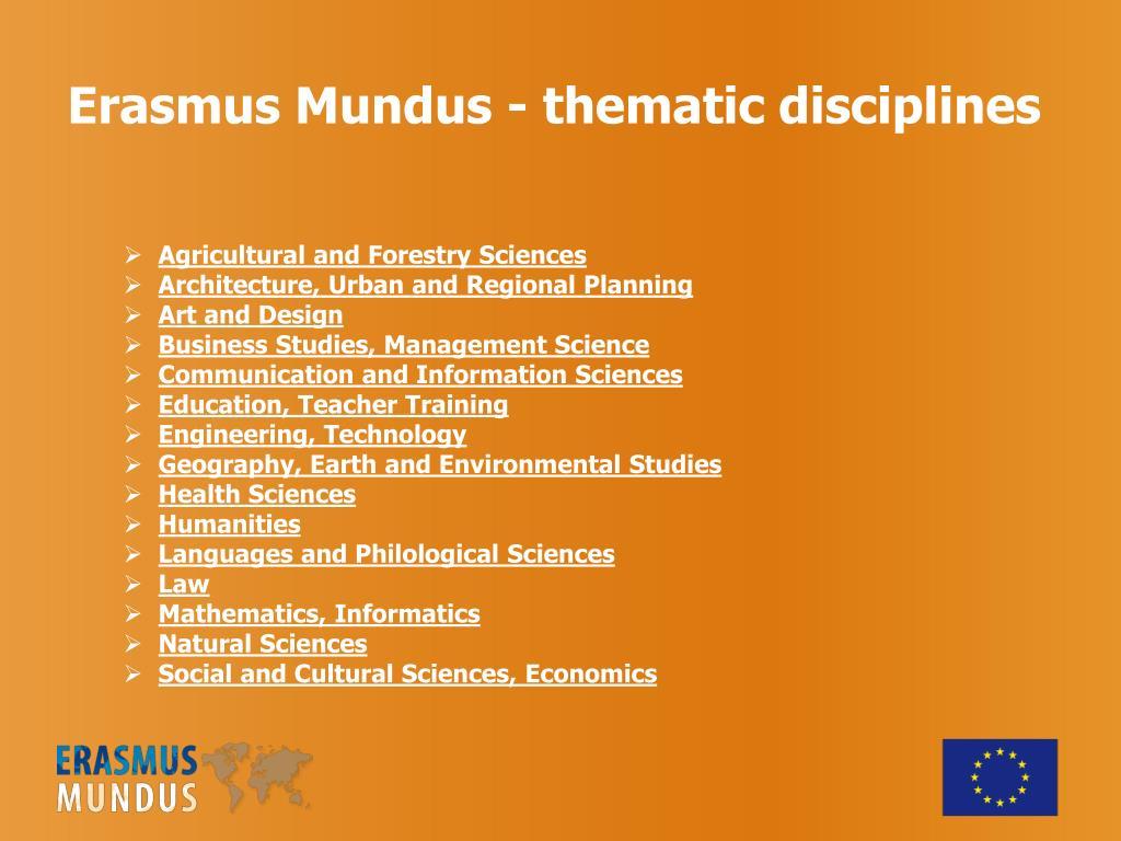 Erasmus Mundus - thematic disciplines